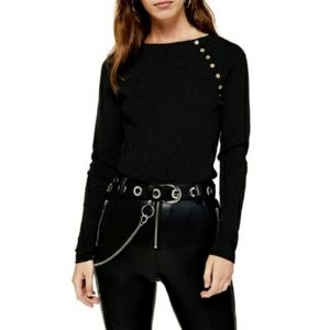 Topshop Button Ribbed Pullover Black Sweater